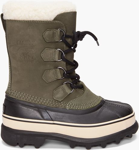 sorel womens caribou boot in green lyst
