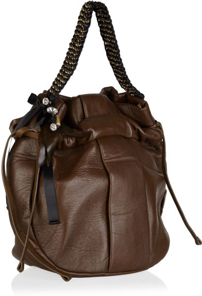 Marni Embellished Leather Hobo Bag In Brown Lyst