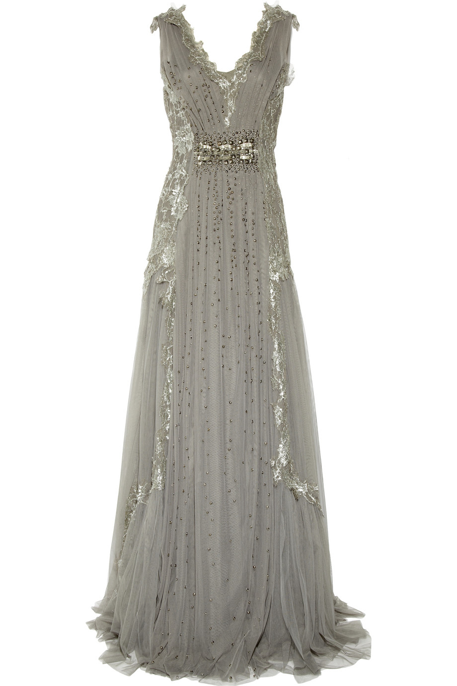 Lyst Alberta Ferretti Embroidered Tulle Gown In Gray