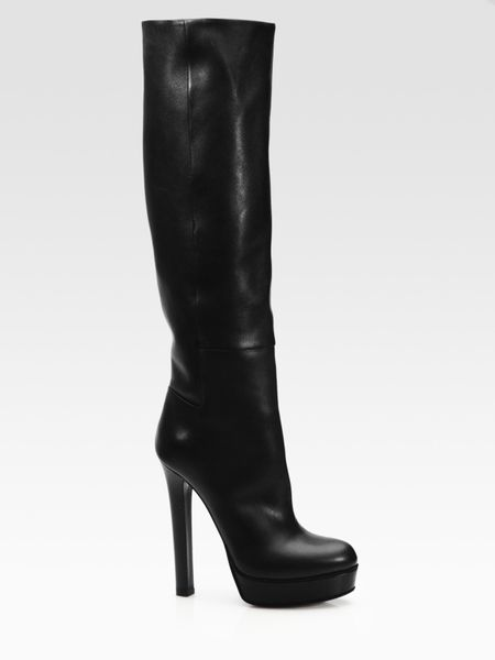 gucci leather knee high platform boots in black lyst