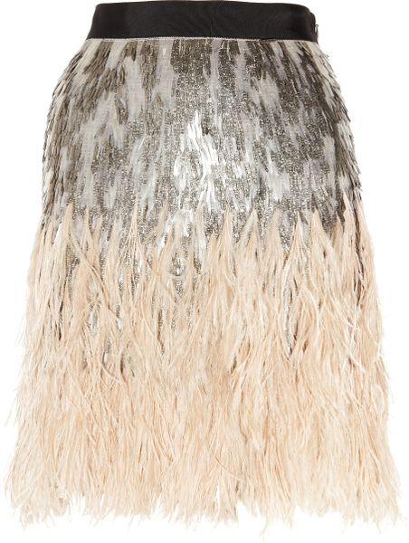 Matthew Williamson Feather and Sequin-embellished Silk Skirt in Gray (silver)