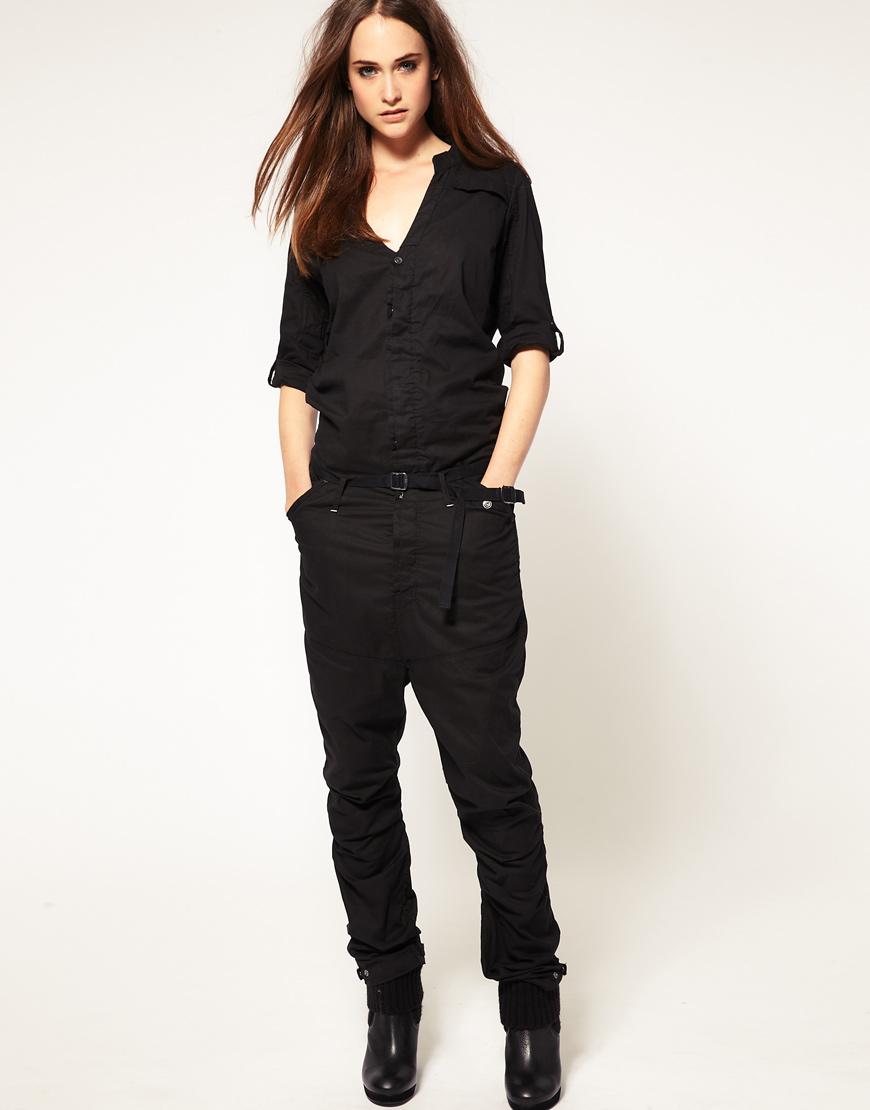 g star raw utility jumpsuit in black lyst. Black Bedroom Furniture Sets. Home Design Ideas
