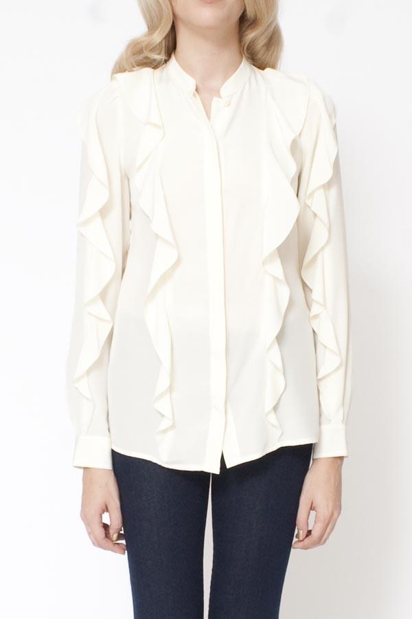 White Long Sleeve Ruffle Front Blouse 5