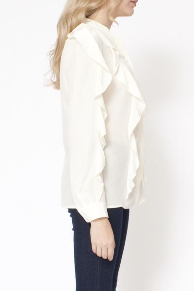 White Long Sleeve Ruffle Front Blouse 12