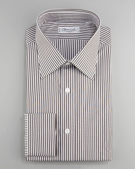 charvet striped dress shirt brown in brown for men lyst