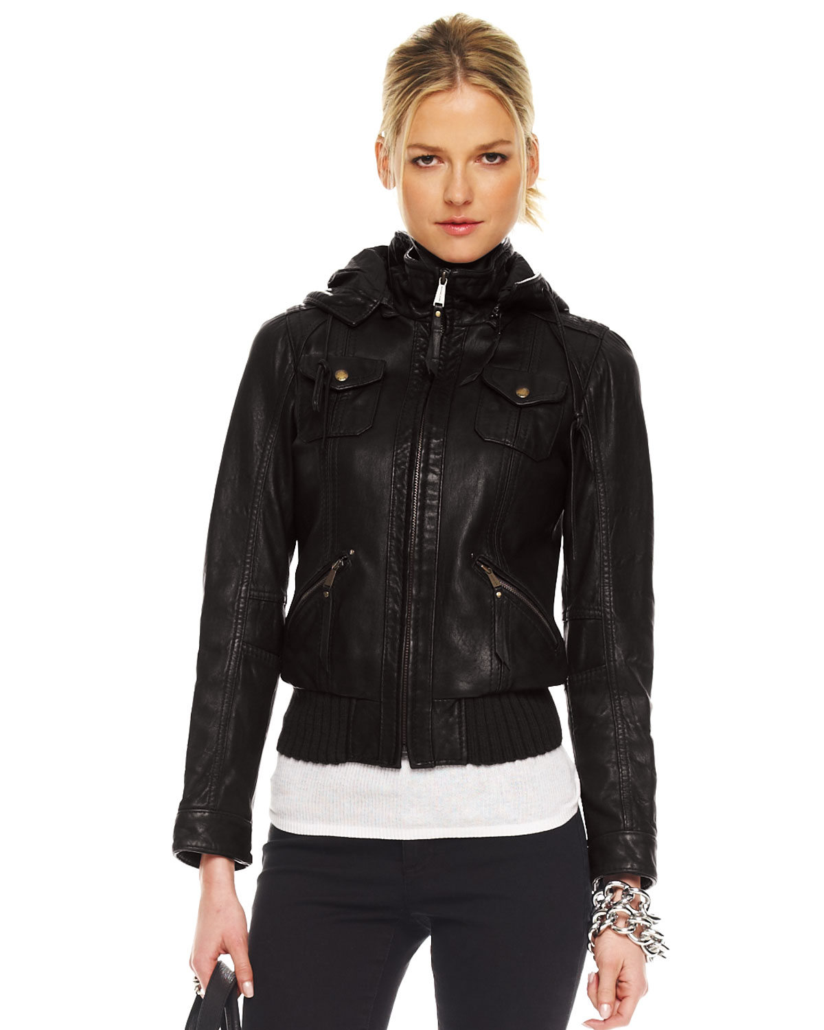 michael kors hooded leather jacket in black lyst