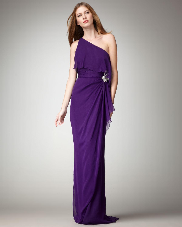Lyst - Badgley Mischka One-shoulder Draped Gown in Purple