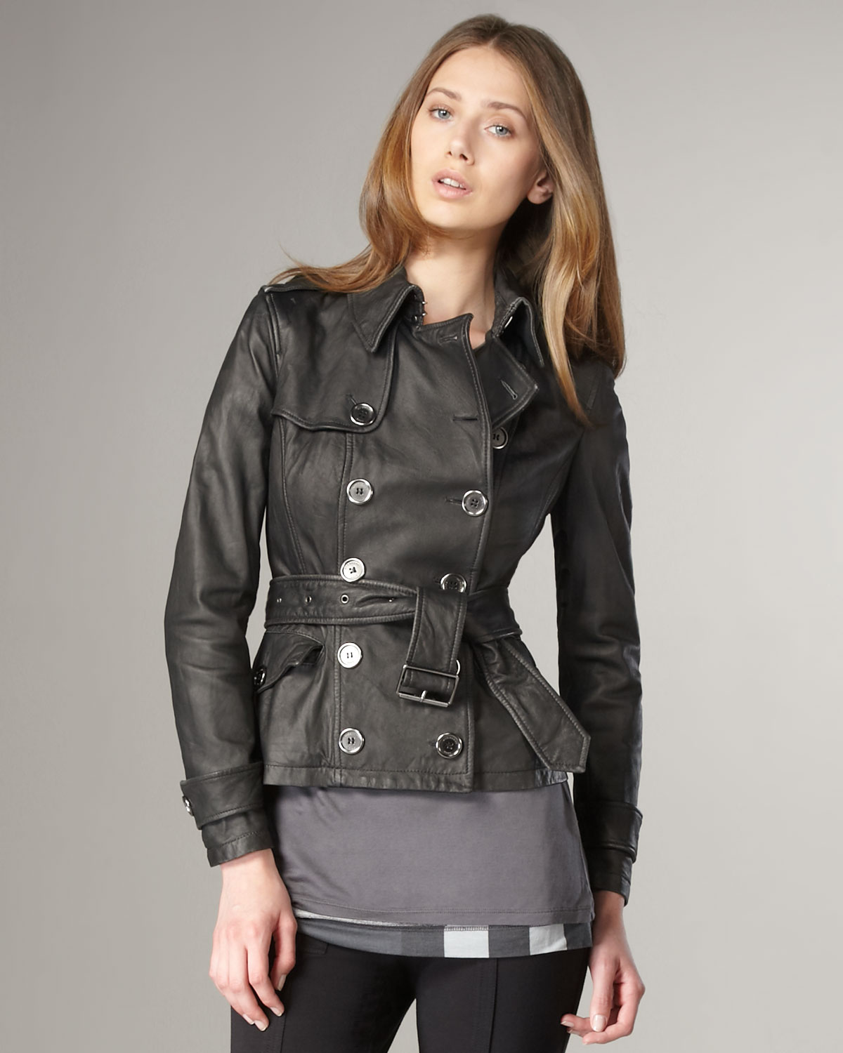 lyst burberry brit double breasted leather jacket in black. Black Bedroom Furniture Sets. Home Design Ideas