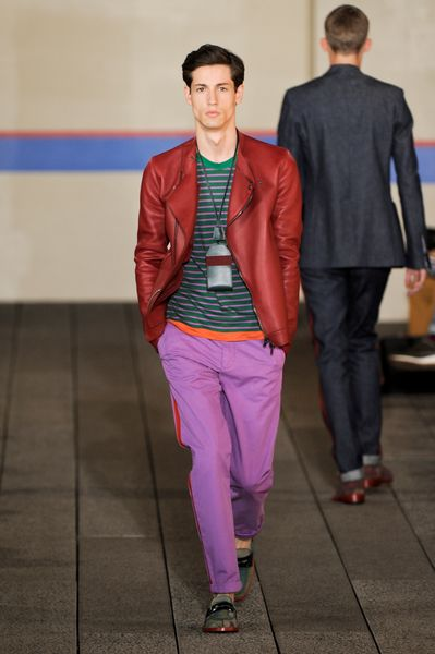 Tommy Hilfiger Spring 2012 Red Leather Jacket in Red for Men - Lyst