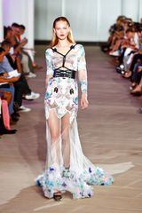 Prabal Gurung Spring 2012 White Print and Chiffon Gown