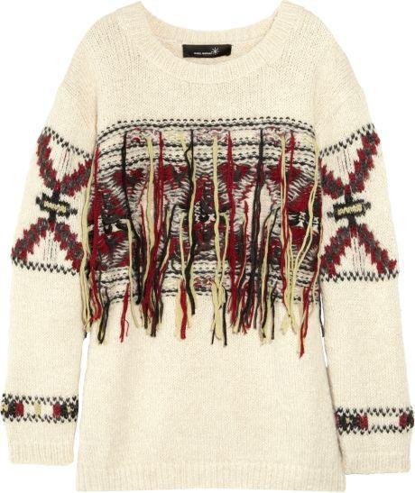Isabel Marant Yoan Wool-mix Instarsia Sweater in Beige (cream)