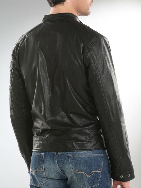 Guess Mens Leather Jacket Guess Sitt Leather Jacket
