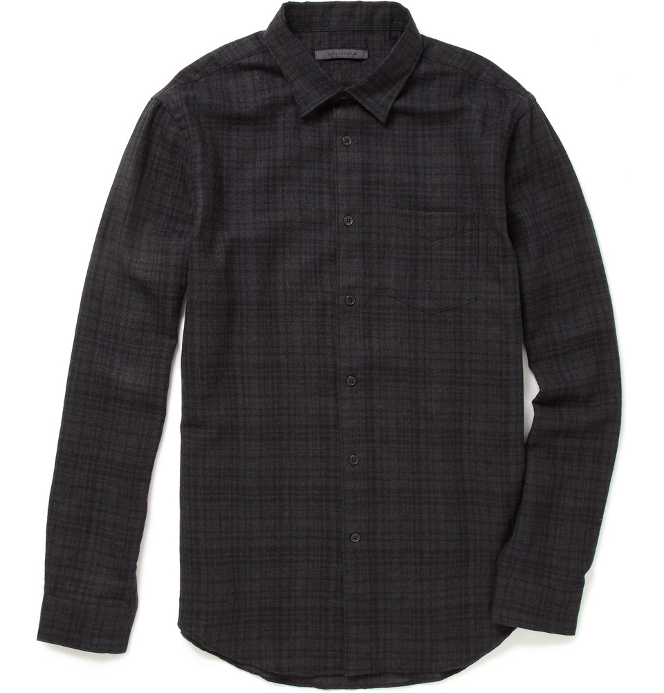 John varvatos plaid wool flannel shirt in gray for men lyst for Mens wool flannel shirt