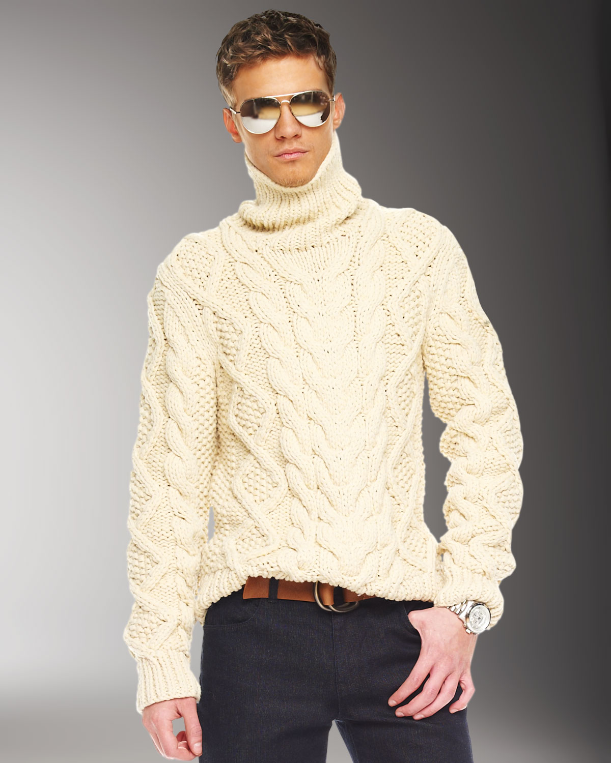 Lyst Michael Kors Handknit Cable Sweater In Natural For Men