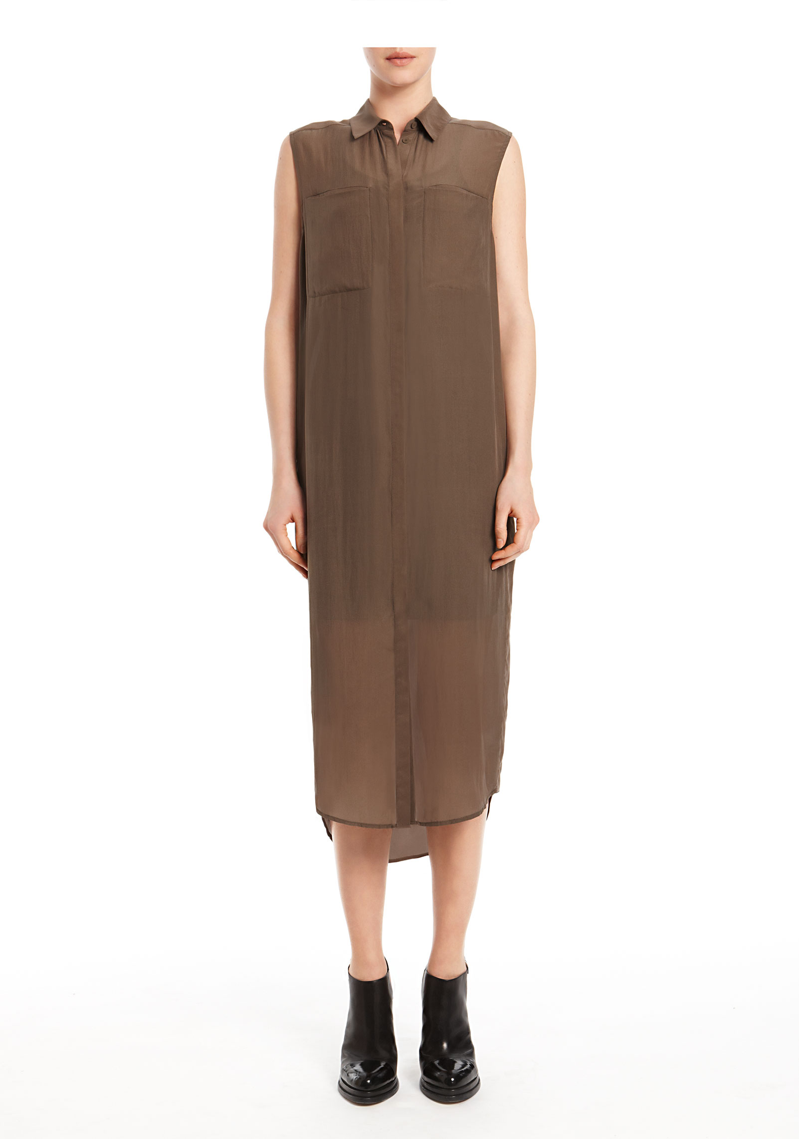 Lyst Alexander Wang Silk Chiffon Cdc Sleeveless Shirt Dress In Brown