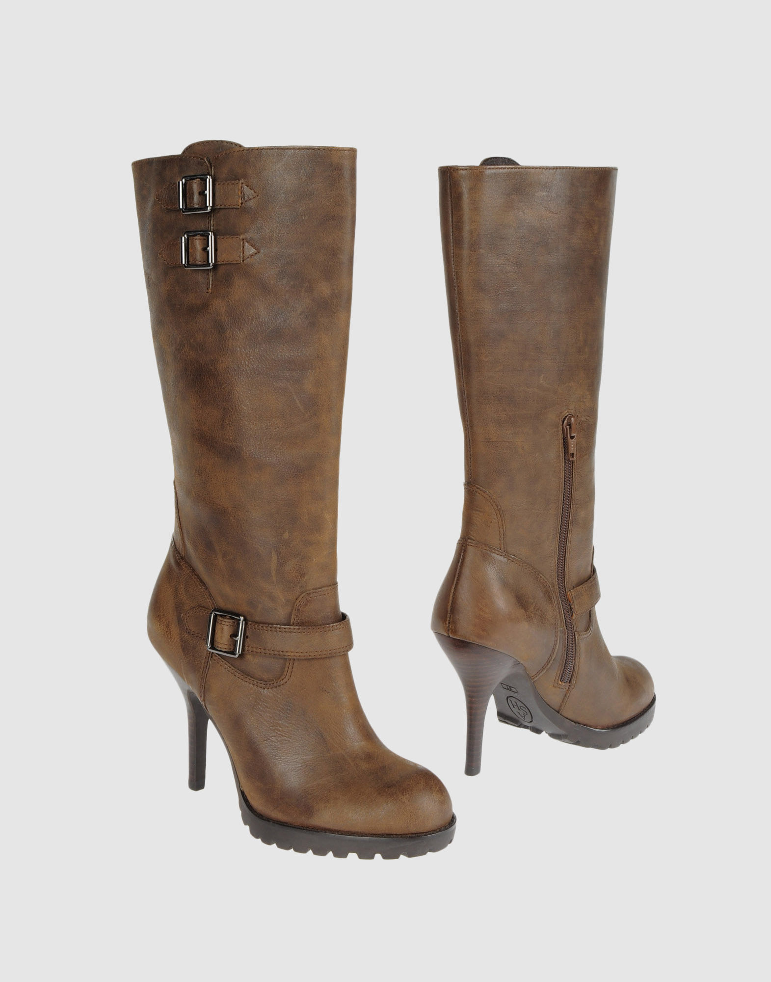 ash high heeled boots in brown lyst
