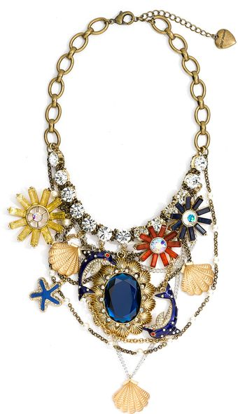 Betsey Johnson Mermaids Tale Charm Bib Necklace - Lyst