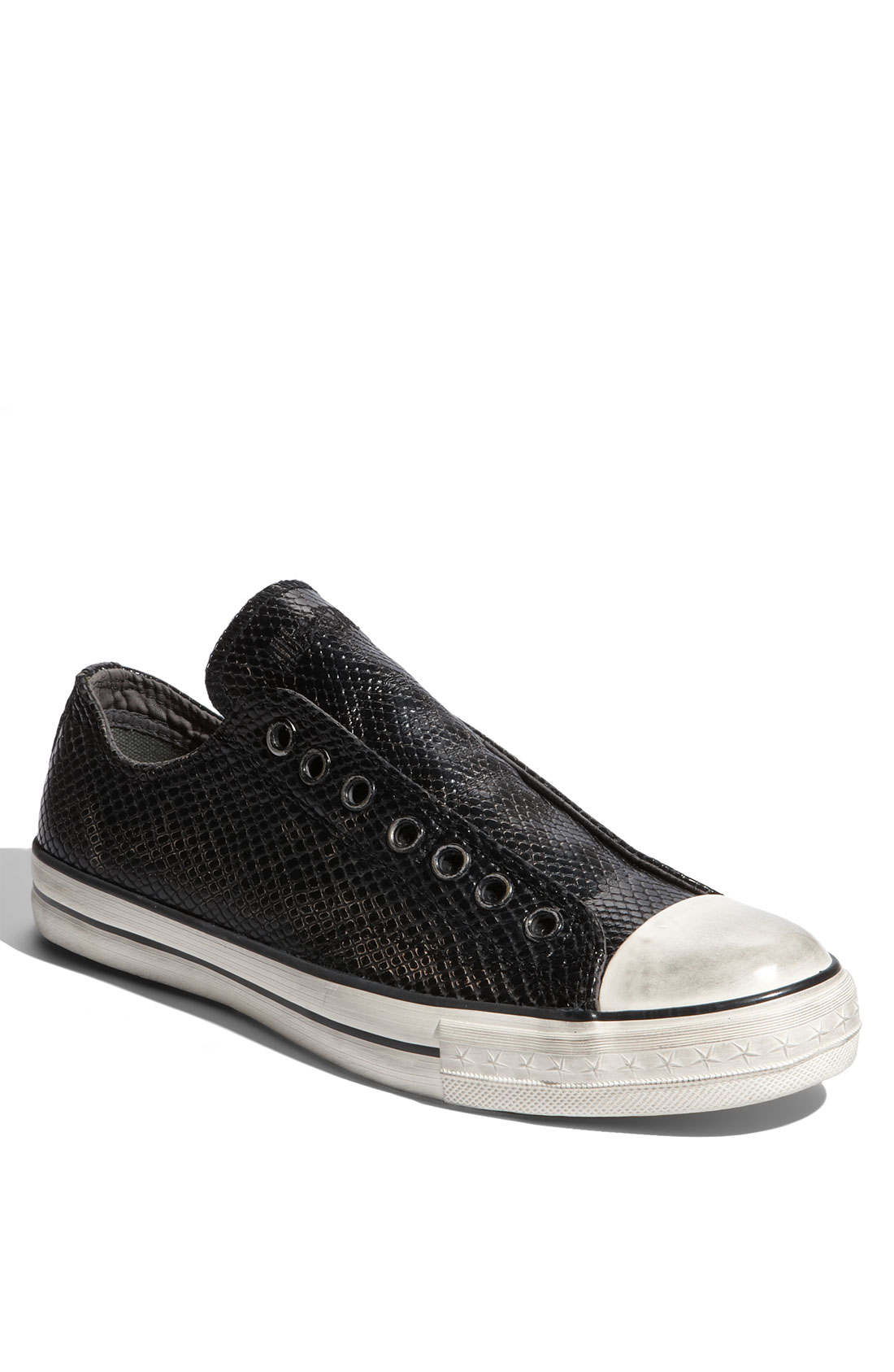 converse chuck taylor textured leather slip on in black for men. Black Bedroom Furniture Sets. Home Design Ideas