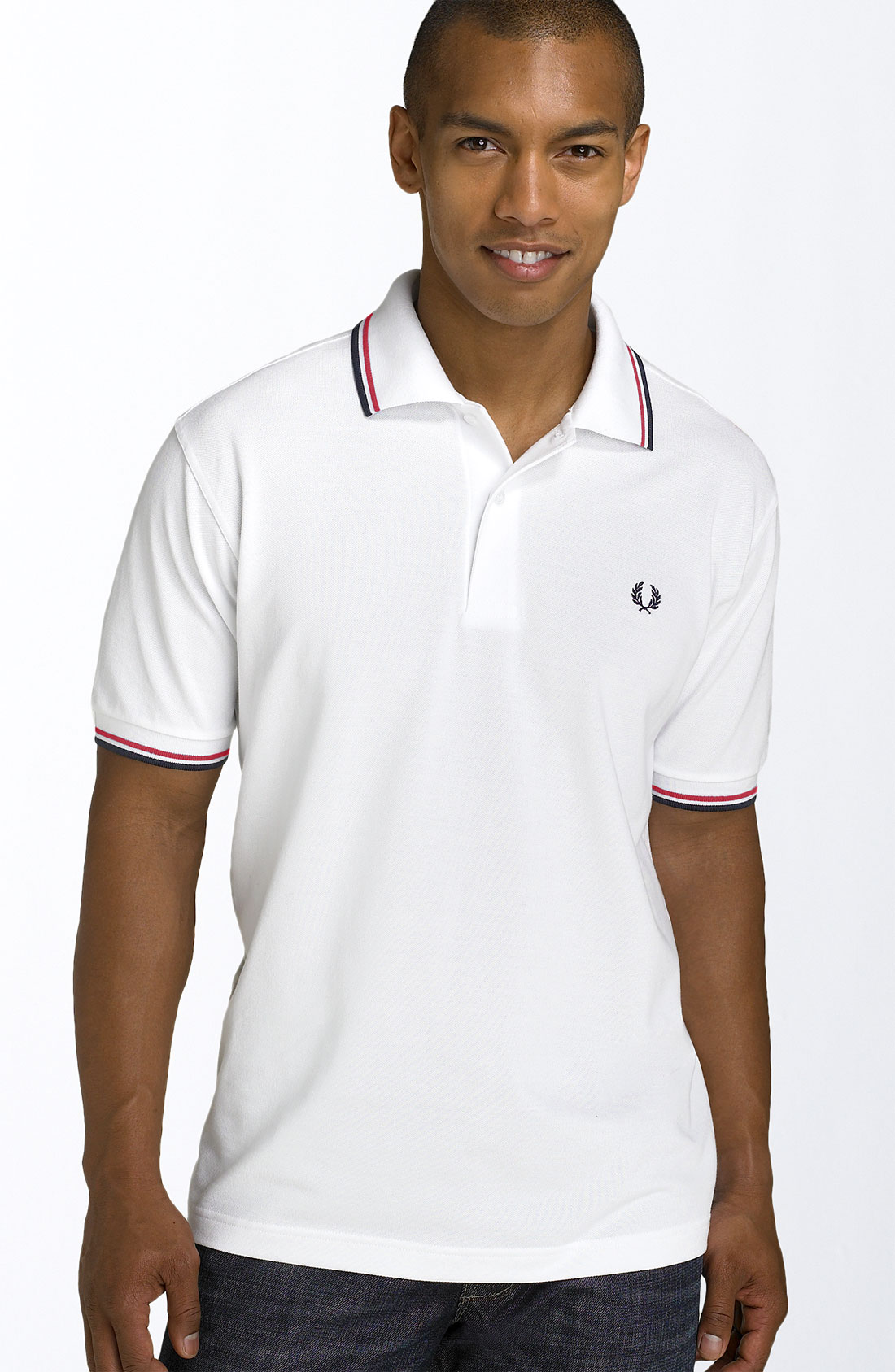 Fred perry Short-sleeved Twin Tipped Polo Shirt in White ...
