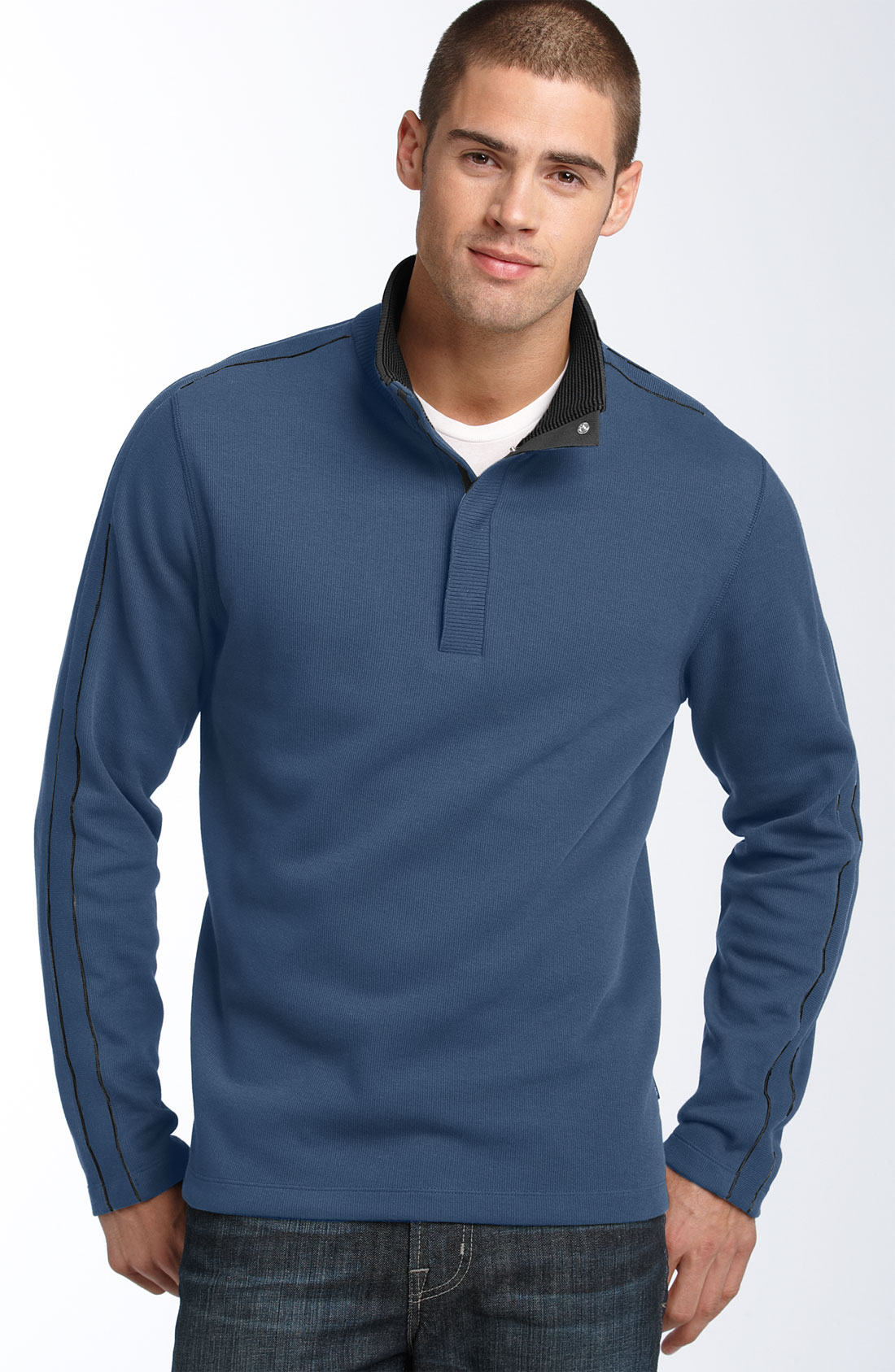 hugo boss boss black piceno cotton knit pullover in blue for men. Black Bedroom Furniture Sets. Home Design Ideas