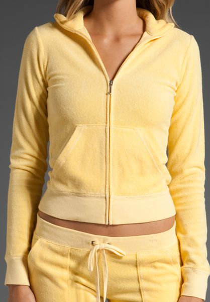Juicy Couture Basic Terry Long Sleeve Zip Track Jacket in