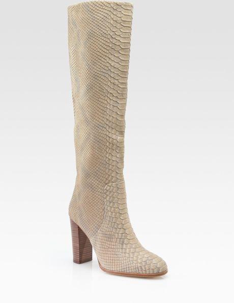 kors by michael kors enola snake embossed leather knee