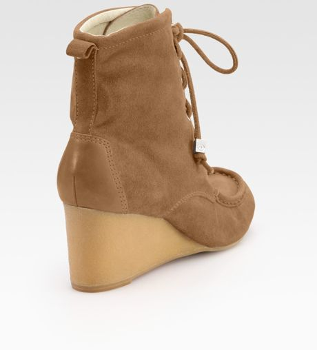 michael michael kors arissa suede wedge ankle boots in