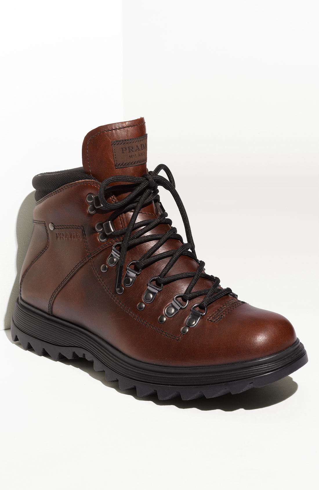 prada hiking boot in brown for tobacco lyst