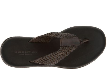 To Boot Cadiz Braided Leather Flip Flop In Brown For Men