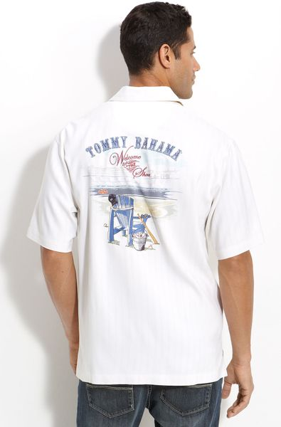 Tommy Bahama Welcome To The Show Silk Sport Shirt In White