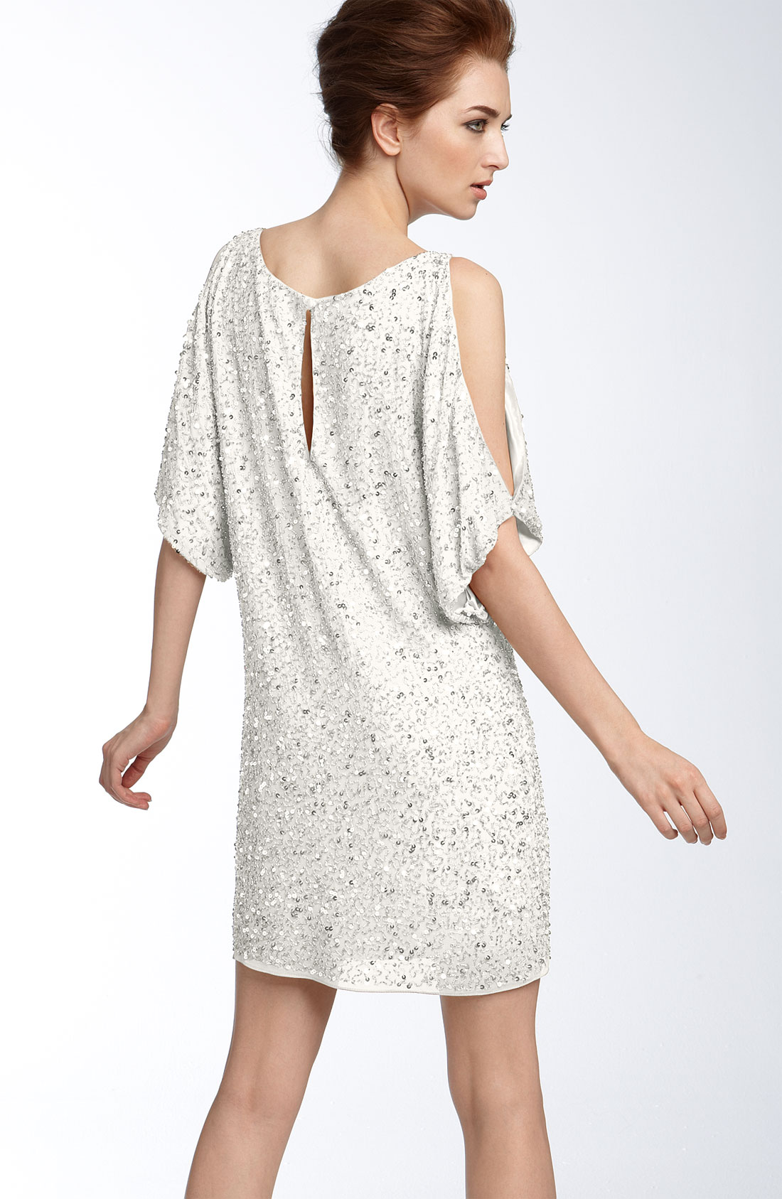 Aidan mattox Cold Shoulder Sequin Dress in White  Lyst