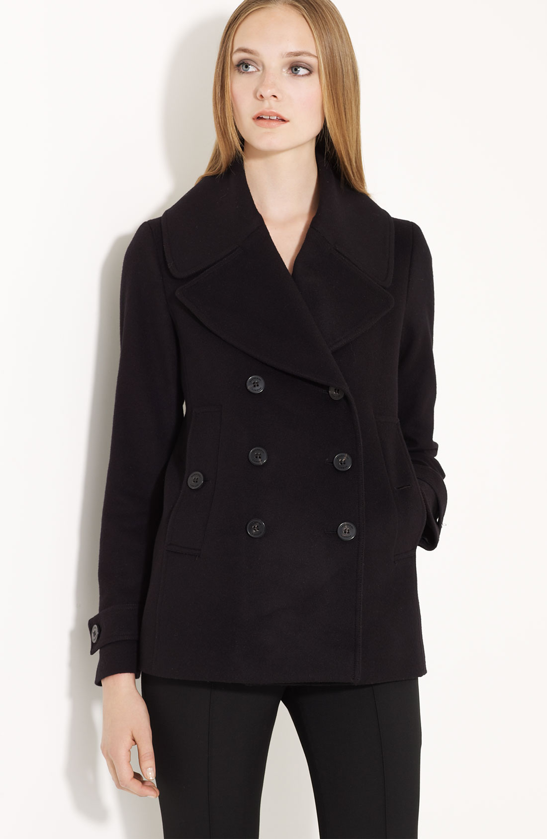 Burberry Wool & Cashmere Short Trench Coat In Black