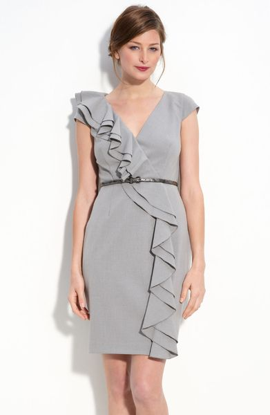 Calvin klein ruffle front stretch woven sheath dress in for Grey dress wedding guest