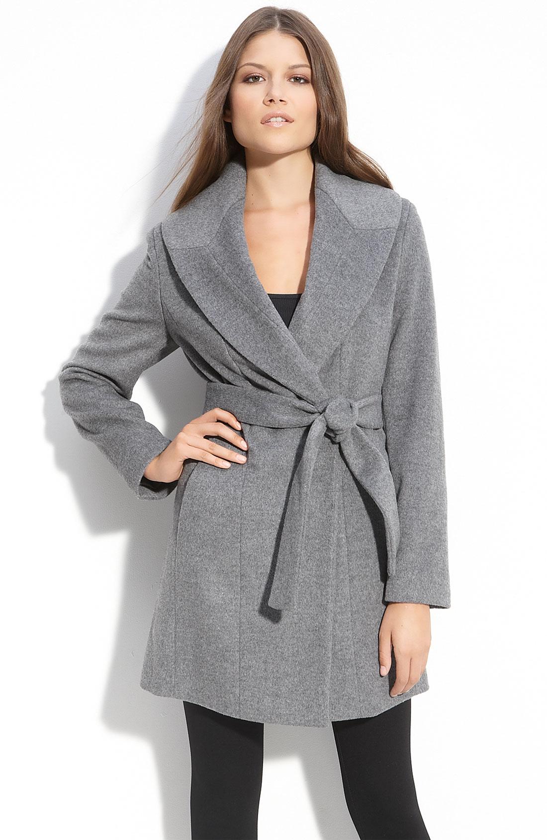 Calvin Klein Shawl Collar Wrap Coat In Gray Tin Lyst