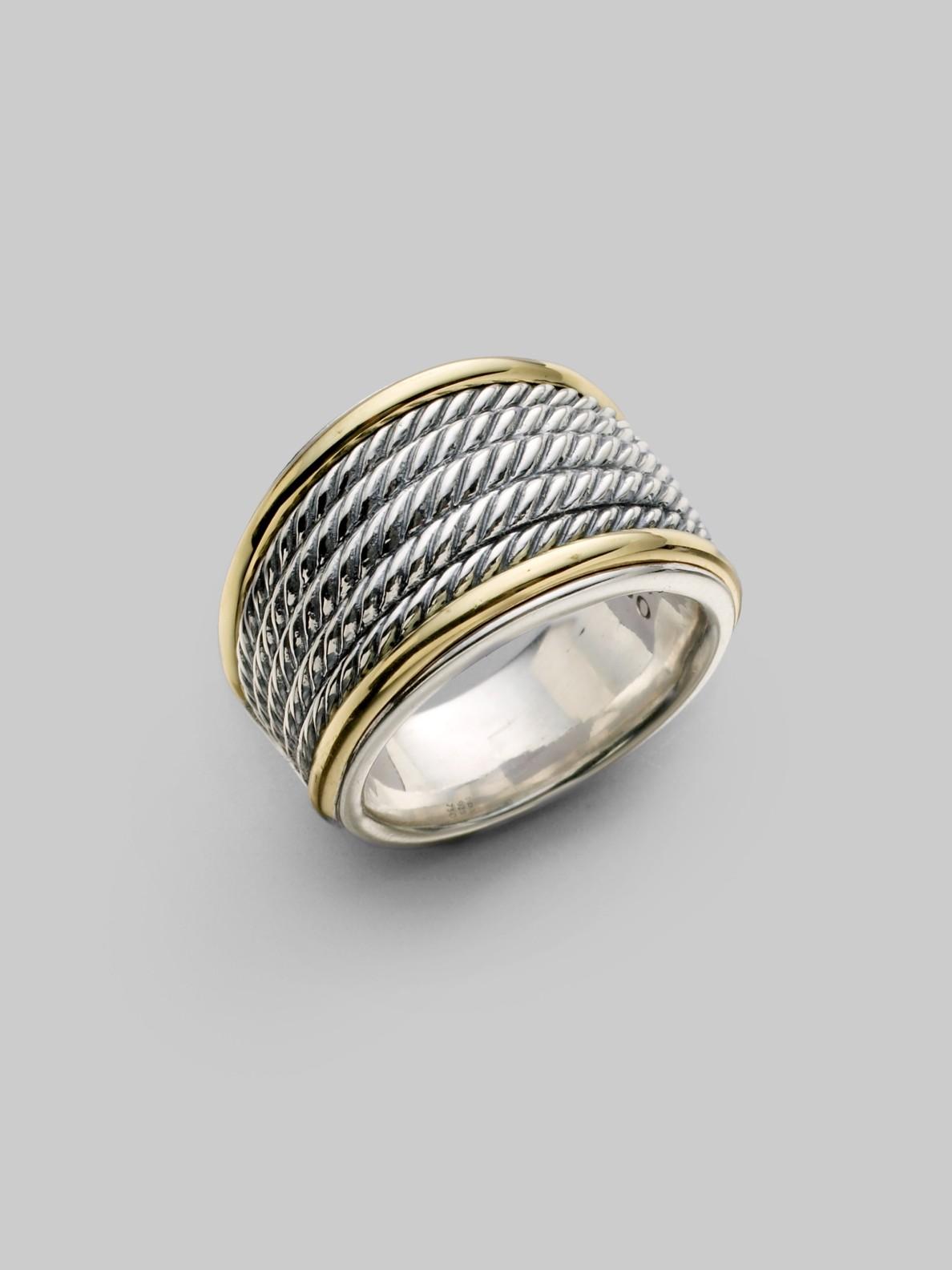 david yurman sterling silver 18k yellow gold cuff ring