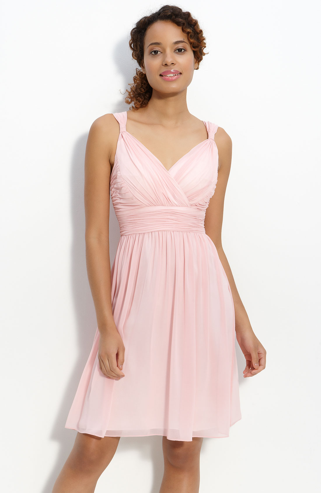 Donna Morgan Ruched Chiffon Dress in Pink (blush) | Lyst