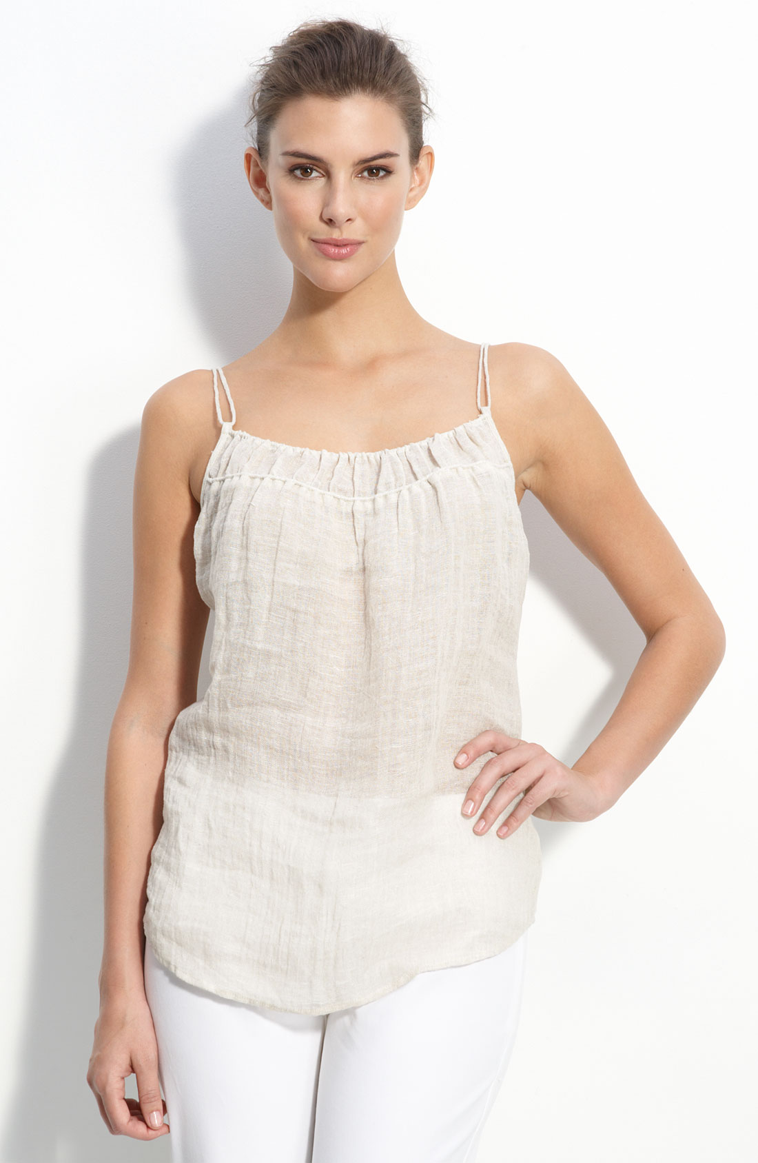 Eileen Fisher Linen Gauze Sheer Natural Cami Top Small Nwt
