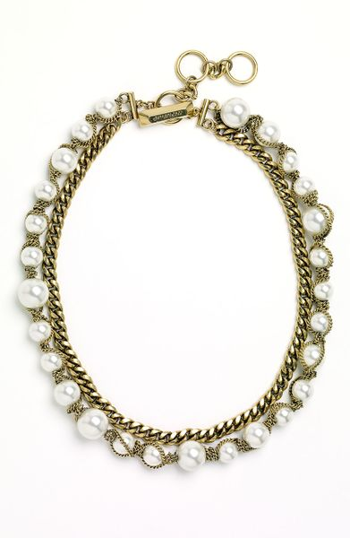 Givenchy Vanguard Faux Pearl & Chain Necklace in Gold (gold/ crystal)