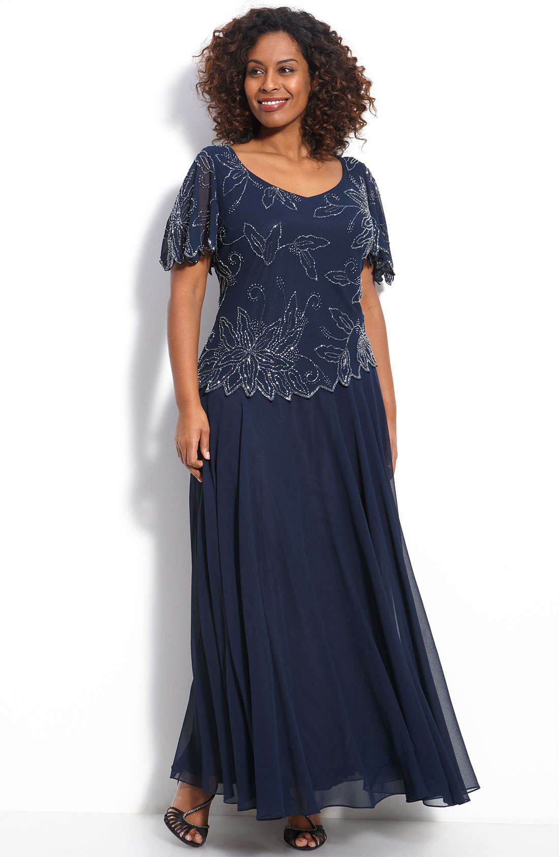 218 Sz 18w J Kara Floral Beaded Gown Navy Mother Of The