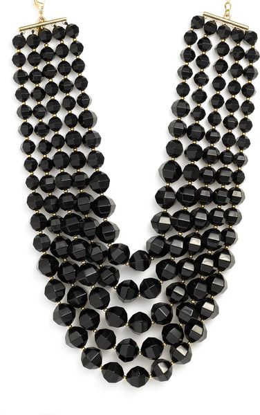 Kate Spade Black Bead Bib Necklace in Black