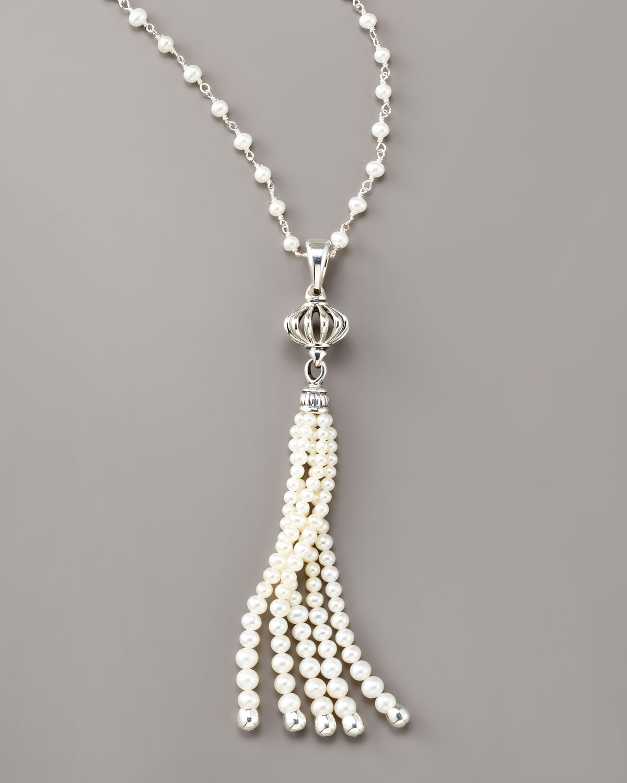 Lagos Luna Pearl Tassel Necklace In Metallic Lyst