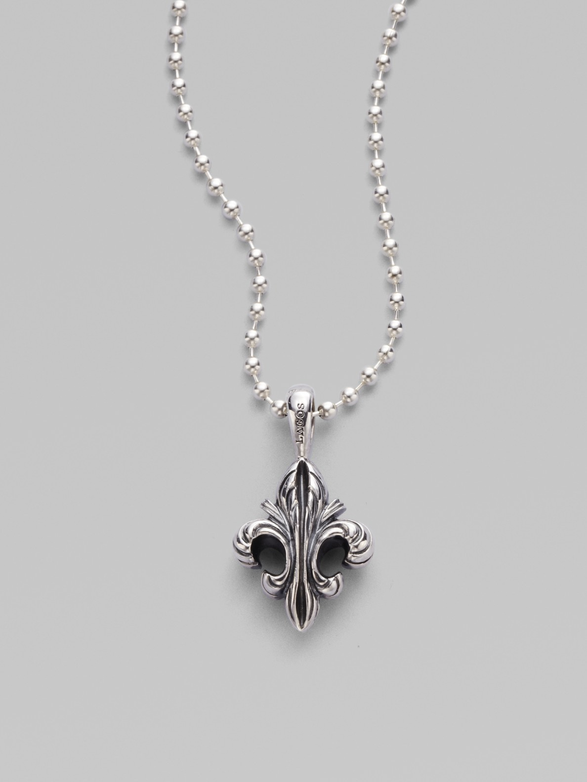 Lyst lagos sterling silver fleur de lis pendant necklace in metallic gallery mozeypictures Images