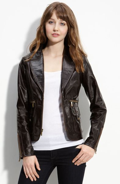 Laundry By Shelli Segal Leather Jacket with Genuine Rabbit Fur Collar