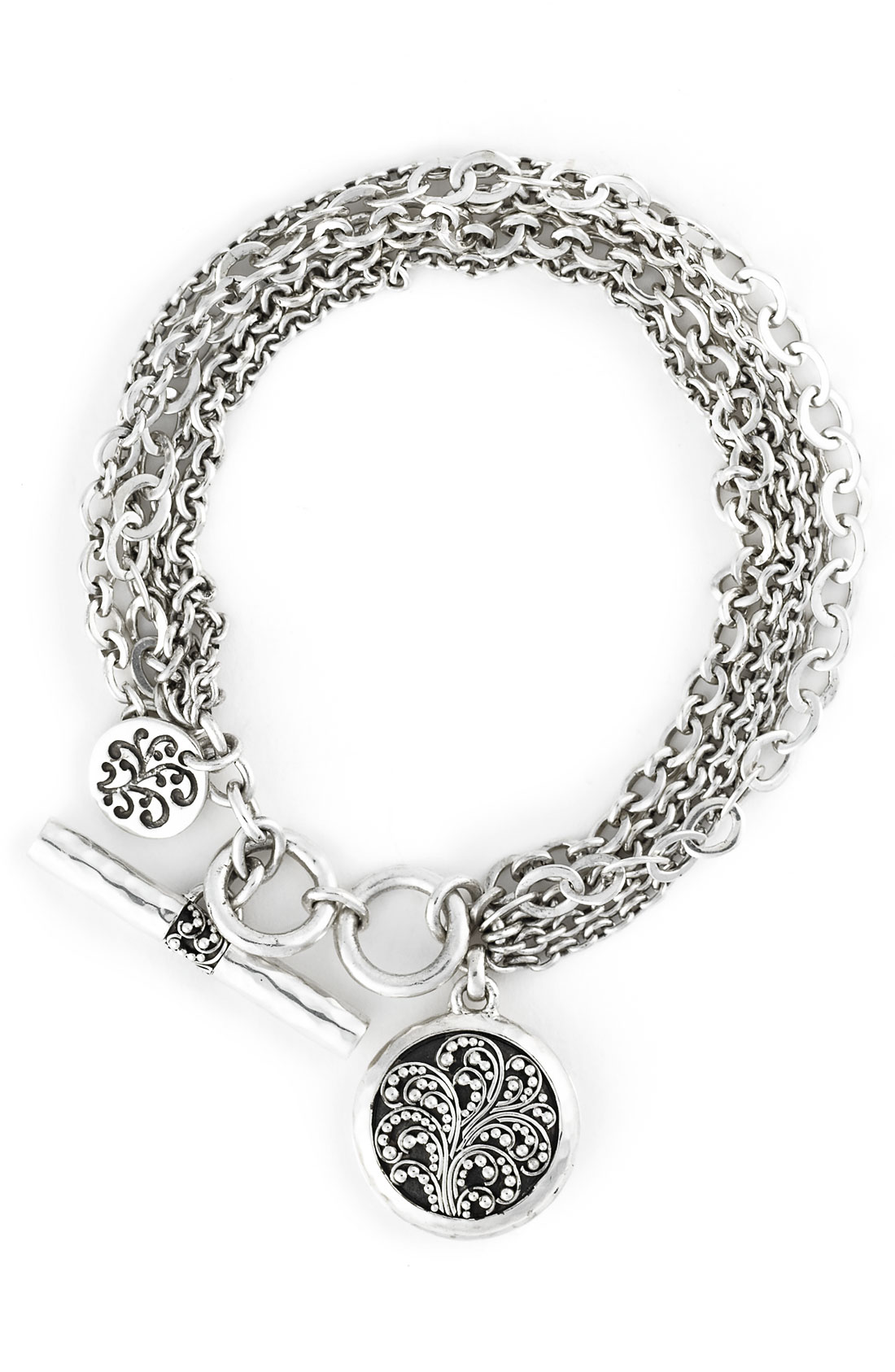 Lois Hill Keepsake Locket Charm Multi Chain Bracelet In