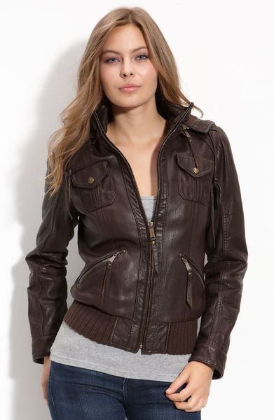 Michael Michael Kors Hooded Leather Bomber Jacket in Brown | Lyst