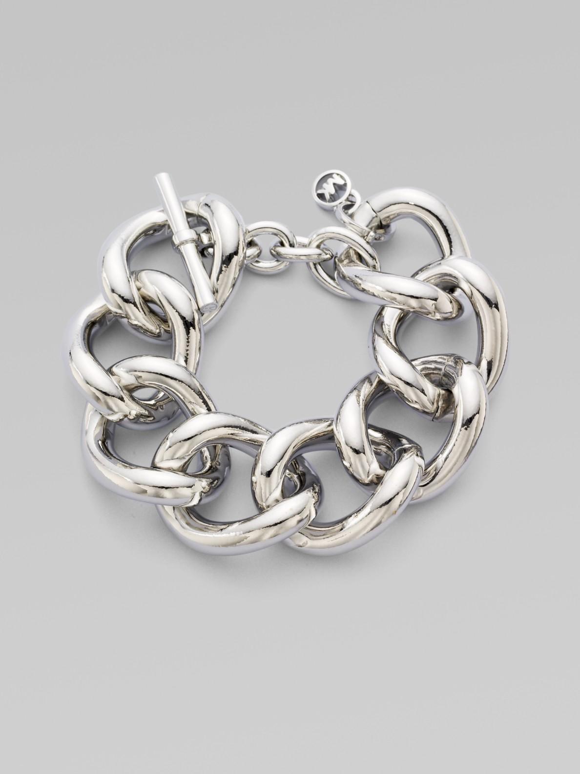 Michael Kors Silvertone Chain Link Bracelet In Metallic Lyst