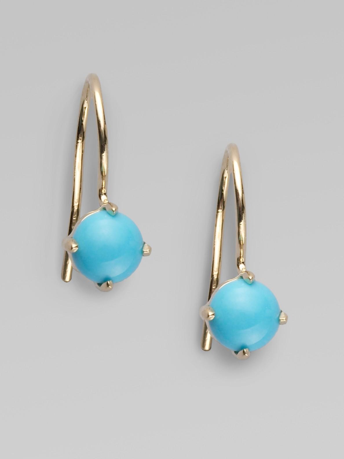 mizuki sleeping beauty turquoise drop earrings in gold lyst. Black Bedroom Furniture Sets. Home Design Ideas