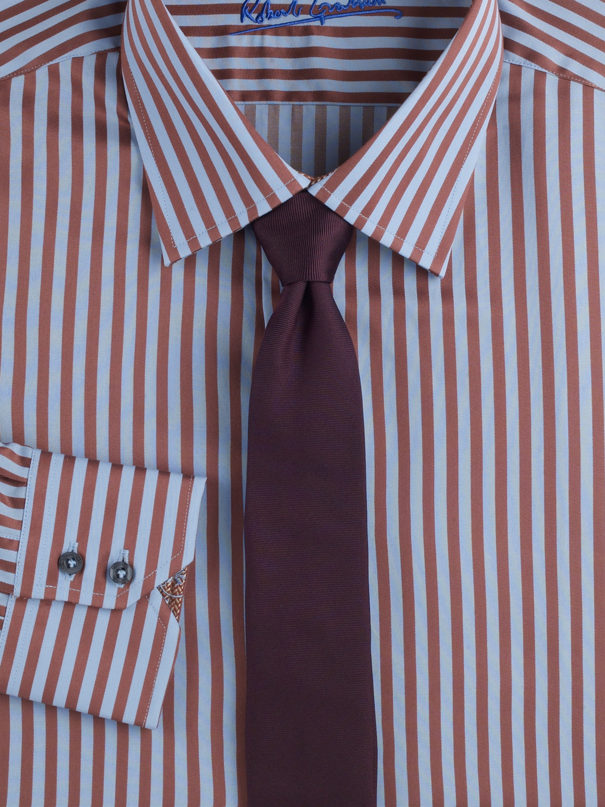 Robert Graham Striped Dress Shirt In Brown For Men Lyst
