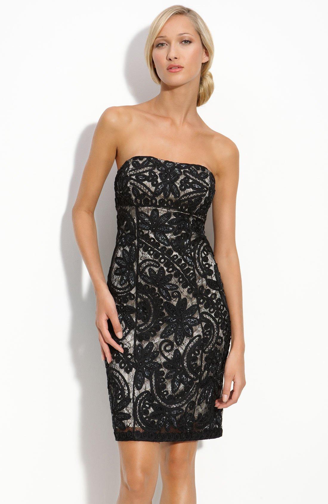 Turmec » black lace strapless dress