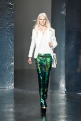 Theyskens' Theory Spring 2012 Green & Blue Metallic Pants